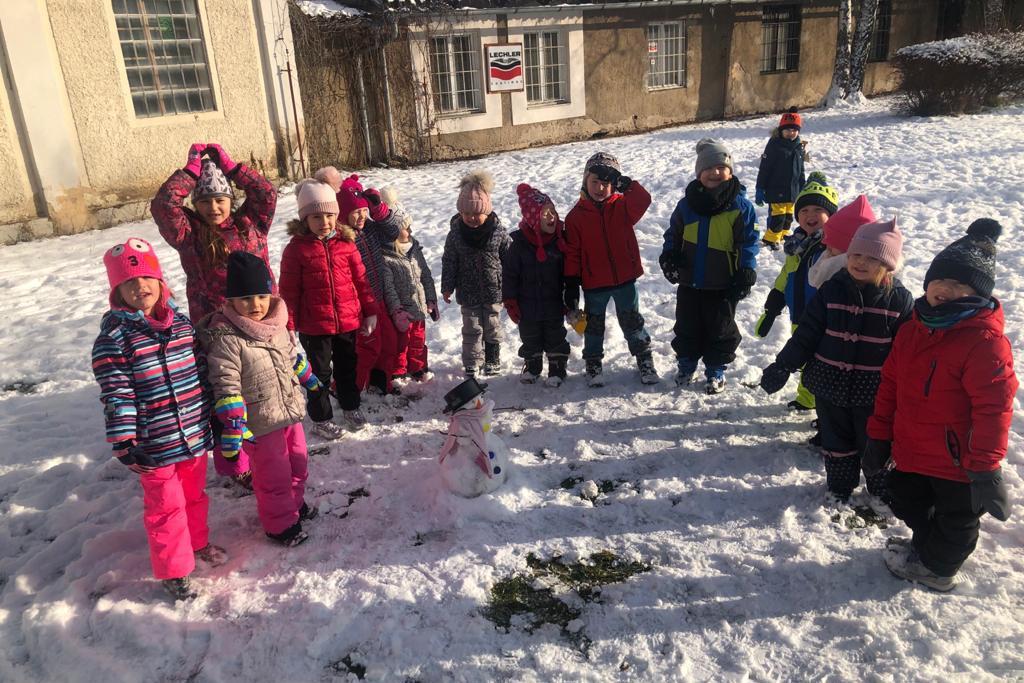 Stavění sněhuláka 14.1.2021